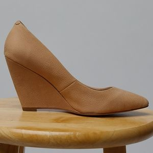 Pour La Victoire leather wedge heels in buff/beige
